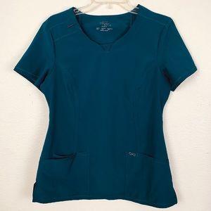 Cherokee Infinity Scrub Top Shirt Teal Turquoise S